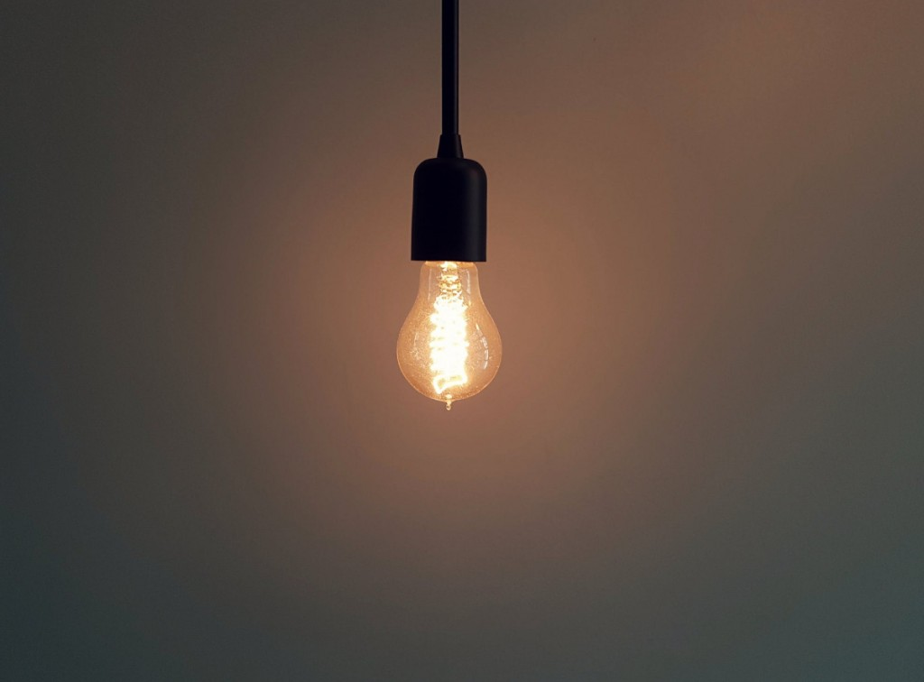 a hanging light bulb